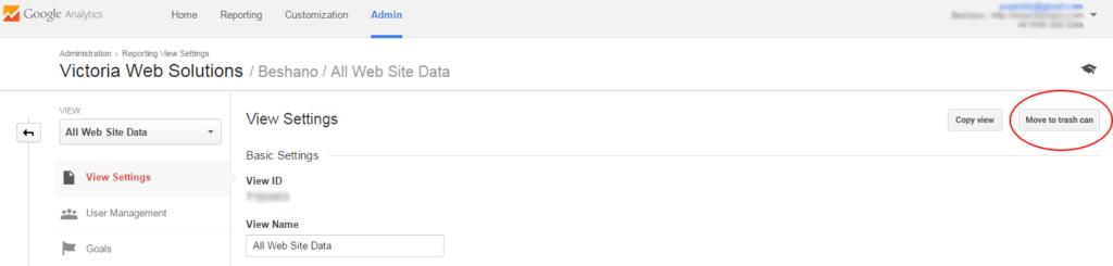 Google Analytics move to trash