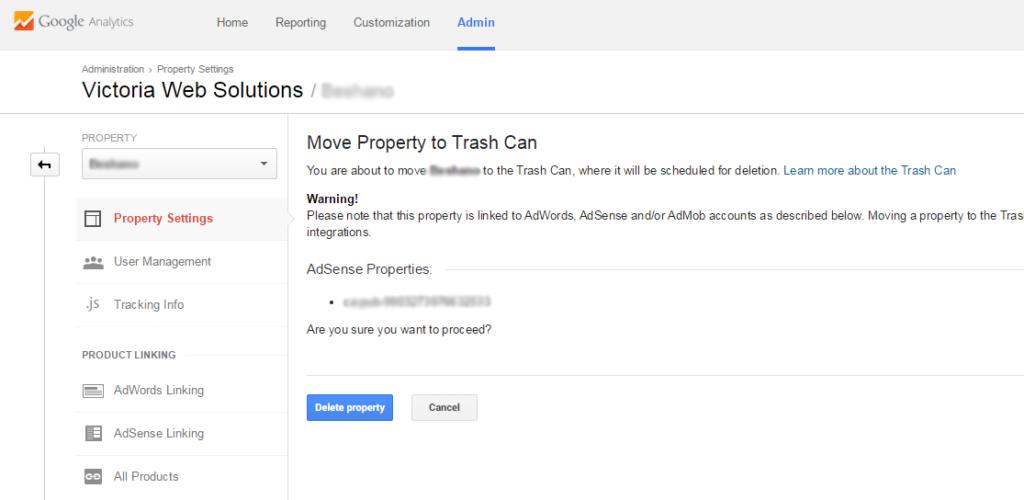 Google Analytics move to trash prompt